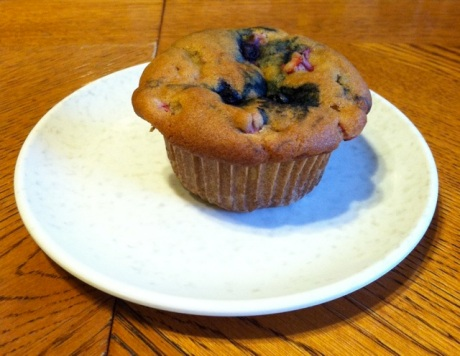 Rhubarb, white, and blueberry muffin